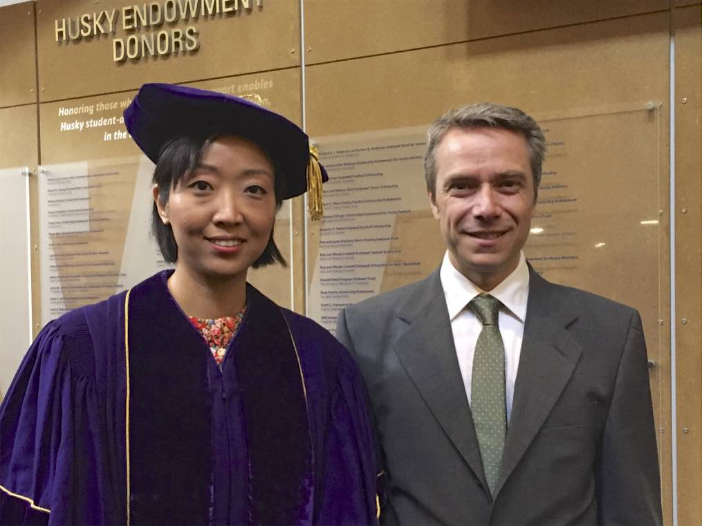 Yuyin and Dieter at UW CSE PhD ceremony.